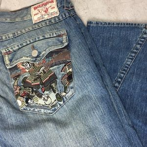 True Religion Samurai Distressed Jeans 34 40